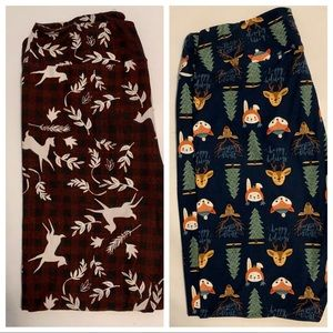Lot of 2 LuLaRoe Christmas Leggings TC2 EUC